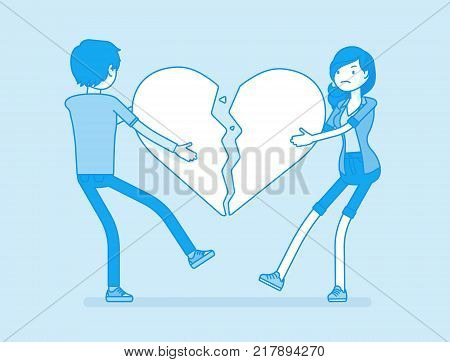 Lovers broken heart. Young man, woman pulled apart causing each other feel great sorrow, couple in disagreement at end of friendly relations after angry dispute. Vector line art illustration