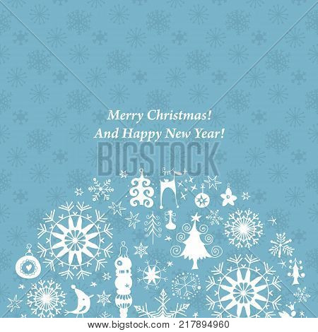 Vintage Christmas Paper Card with Xmas Icons and Holiday Elements Set, Blue Background