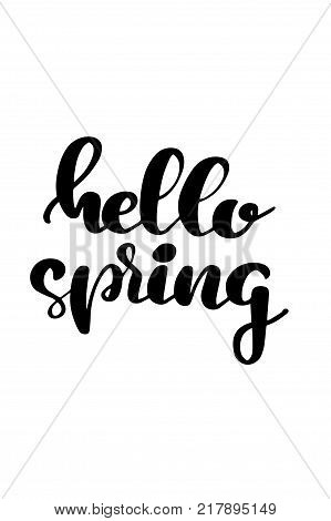 Hand drawn lettering. Ink illustration. Modern brush calligraphy. Isolated on white background. Hello spring.