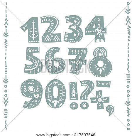 Vector set of bold numbers and punctuation marks decorated with nordic folk ornaments. Display font.