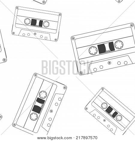 Audio tape cassette. Outline drawing as seamless pattern. Vector illustration isolated on white background