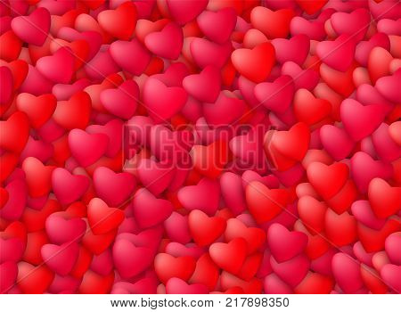 Seamless realistic hearts background. Love, passion and Valentine Day concept. Romantic banner design. Vector illustration