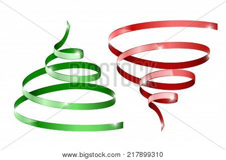 Tornado or christmas tree icons. Red and green ribbon symbols. Vector 3d illustration isolated on white background