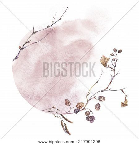 Watercolor botanical round frame, Twigs, branches and leaves. Dry vintage bouquet, greeting floral card isolated on white background. Nature illustration
