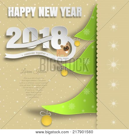 Vector paper art for Happy New Year with insert in the form of a green Christmas tree with yellow balls text dog cut from paper on the background with snowfall pattern.