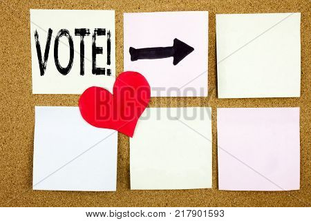 Conceptual hand writing text caption inspiration showing Vote concept for Voting Electoral Vote and Love written on wooden background, reminder  background with space