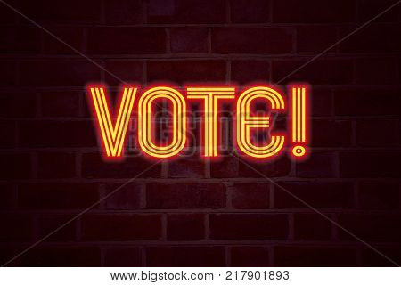 Vote neon sign on brick wall background. Fluorescent Neon tube Sign on brickwork Business concept for Voting Electoral Vote 3D rendered Front View