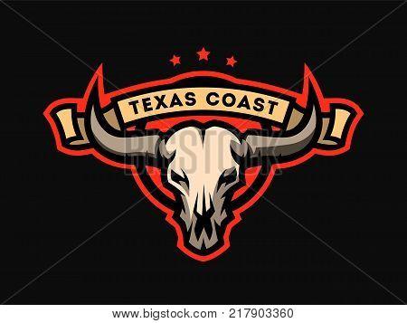 Bull skull emblem, logo, symbol Vector illustration