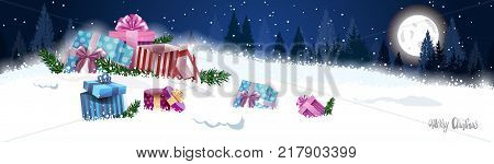 Winter Holidays Horizontal Banner With Nigth Winter Forest And Present Boxes In Snow Landscape Merry Christmas Decoration Concept Flat Vector Illustration