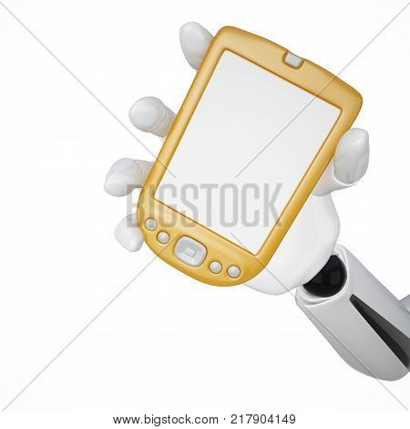 Gold 3d robotic hand hold a blank gold pda. Including clipping path