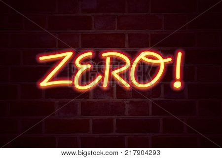 Zero neon sign on brick wall background. Fluorescent Neon tube Sign on brickwork Business concept for Zero Zeros Nought Tolerance 3D rendered Front View