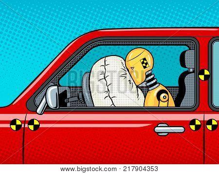Crash test dummy in car after accident pop art retro vector illustration. Comic book style imitation.