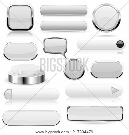 White buttons. Glass icons and push buttons with metal frame. Vector 3d illustration isolated on white background