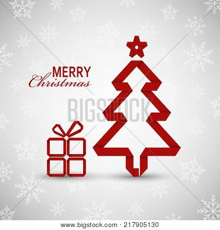 Christmas card with red tree and gift on snowy background vector eps 10