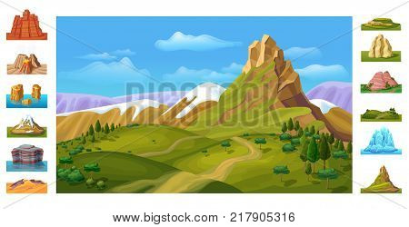 Cartoon colorful nature landscape template with snowy mountains green hills trees and different beautiful rock sceneries vector illustration