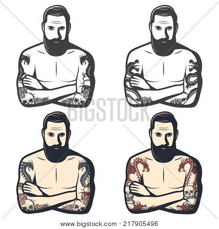 Vintage dragon tattoos set with mythological monsters skull flowers on arms of bearded man in different colors isolated vector illustration