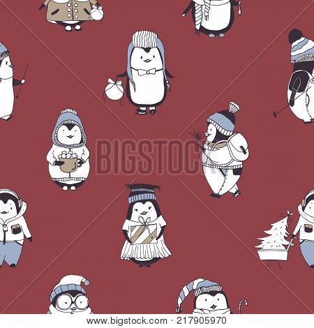 Seamless pattern with funny baby penguins wearing various winter clothes on red background. Backdrop with cartoon antarctic birds dressed in outerwear. Vector illustration for wallpaper, fabric print