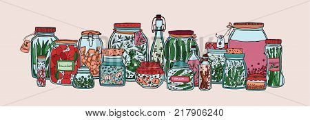 Horizontal banner with fruits, pickled vegetables and spices in jars and bottles hand drawn on white background. Collection of homemade preserves in glass containers. Colorful vector illustration