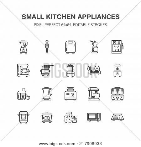 Kitchen small appliances line icons. Household cooking tools signs. Food preparation equipment - blender, coffee machine, microwave, toaster, grinder. Signs for electronics store. Pixel perfect 64x64.