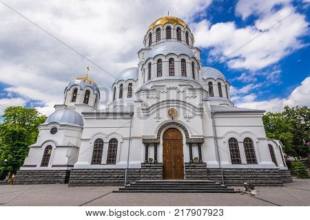 Frontage of St Alexander Nevsky Cathedral in Kamianets Podilskyi Ukraine