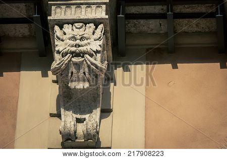 Mythical creature on a carved column in siena Italy