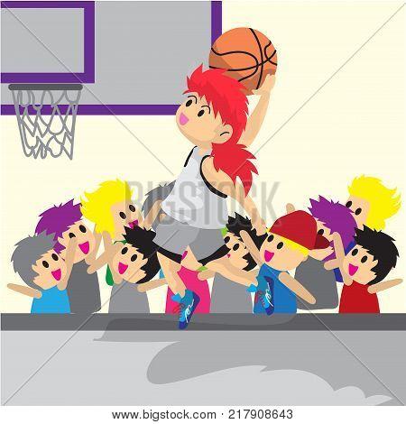 Boy Play Basketball character design cartoon art basketball court Background illustration