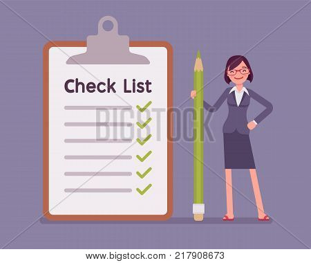 Giant check list. Young businesswoman with big list of things to be checked, items required, things to be done, office schedule reminder. Vector business concept flat style cartoon illustration