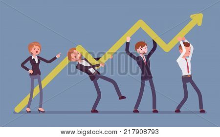 Raising the bar. Young businesswoman helps to successful activity of company, raising sales, increasing labor efficiency and development. Vector business concept flat style cartoon illustration