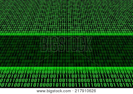 An image of a binary code made up of a set of green digits on a black background. Copy space