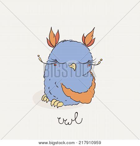 Cute cartoon owl. Lovely owlet in doodle style. Vector illustration.