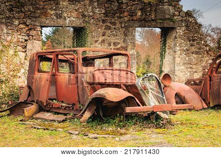 Remains Of A Burnt Car Remained In The State