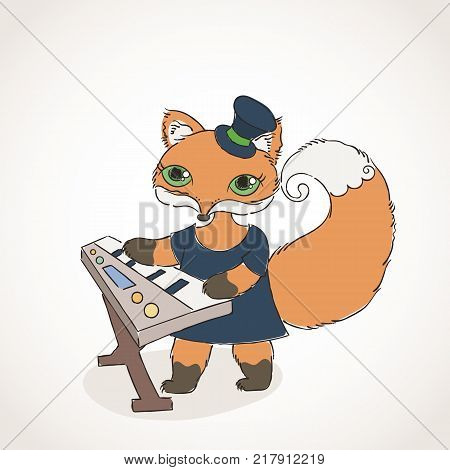 Gothic foxy musician with synthesizer. Music doodle animal. Vector illustration.