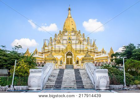 Swe Taw Myat Tooth Relic Pagoda in Yangon, Myanmar, Dec-2017