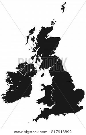 Detailed map of great Britain and Ireland with borders in high resolution. Vector illustration.
