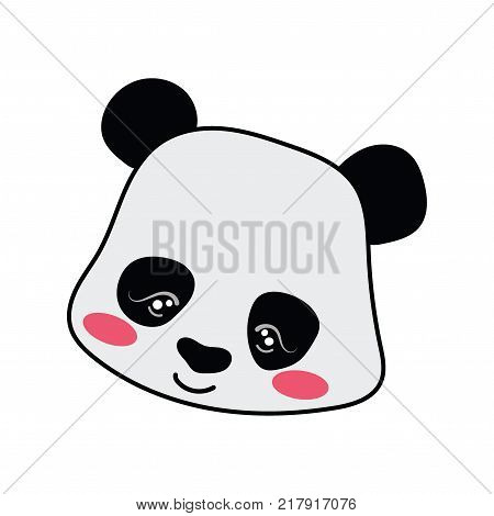 Cartoon portrait of a panda. Stylized grizzly bear in bow tie. Forest inhabitant. Art for children.