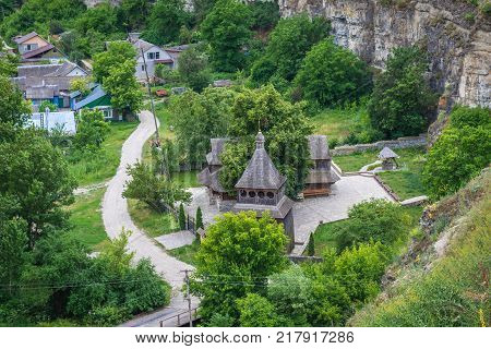 Holy Cross Exaltation wooden church in Kamianets Podilskyi Ukraine