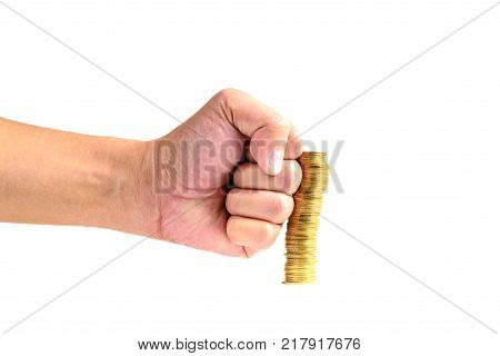 Hand Punch The Increasing Columns Of Gold Coins On White Background, Piles Of Gold Coins Breaking By