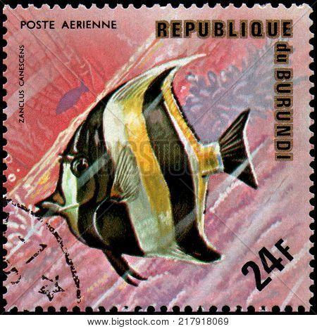 REPUBLIC OF BURUNDI - CIRCA 1974: a postage stamp, printed in Burundi, shows a fish Moorish Idol (Zanclus canescens)