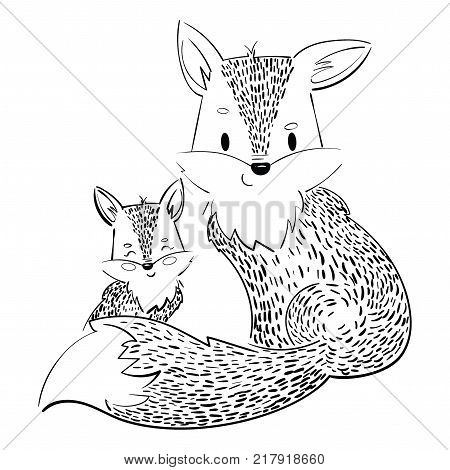 Cartoon family of foxes. A stylized fox with a fox puppy. Linear Art. Vector illustration for children. Wild animals. Black and white drawing.