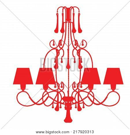 Silhouette Of Luxury Chandelier On A White Background