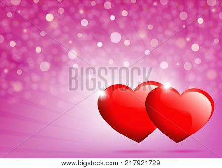 pink background with rays of light and two red hearts with brilliance