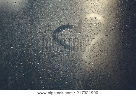 Valentine's day-heart on wet glass and rain