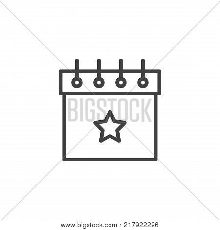 Favorite day calendar with star line icon, outline vector sign, linear style pictogram isolated on white. Party celebration symbol, logo illustration. Editable stroke