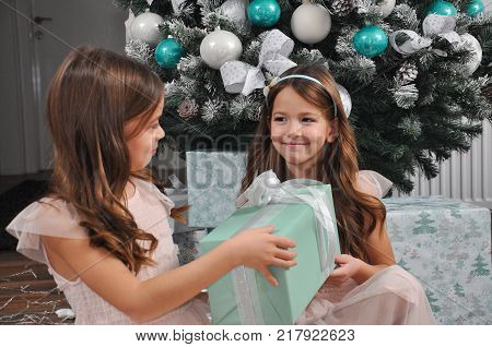 Little girl giving present to her sister. Girl give gift to sister  for Christmas
