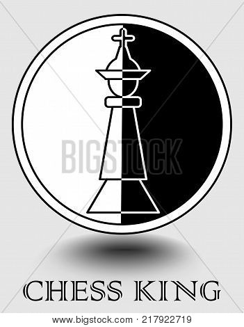 Chess king icon in monochrome design, vertical splitted to black and white part, object shadow. Designed for chess club, chess match emblem, internet portal, web. Vector EPS 10