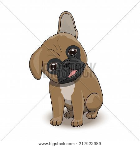 French Bulldog Cartoon Puppy Character Portrait. Dog Vector Illustration