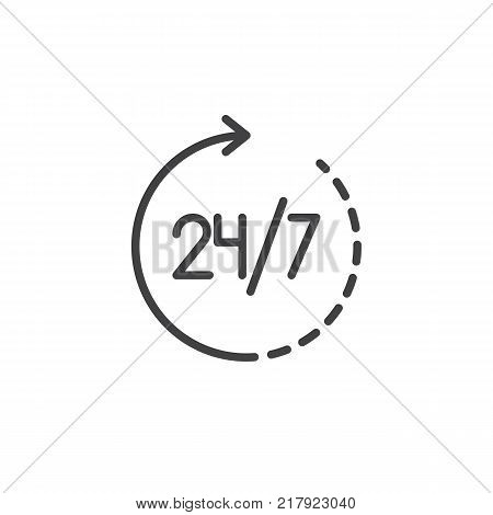 24 hours in 7 days week available service line icon, outline vector sign, linear style pictogram isolated on white. 24 7 all day working time symbol, logo illustration. Editable stroke