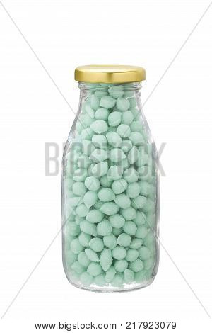 Blue Candy Sweets in a glassware bottle with gold cap. Isolated on white background. poster