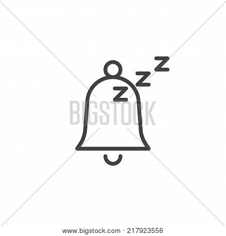 Sleeping bell line icon, outline vector sign, linear style pictogram isolated on white. Alarm Snooze Symbol, logo illustration. Editable stroke