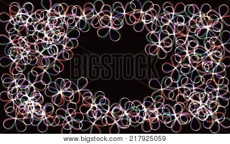 EPS10. Neon blurry circles at motion . Vector swirl trail effect . Abstract luminous rings slow shutter speed effect . Bokeh glitter round shapes . lights at motion exposure